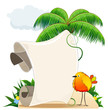 Tropical island with bird and  scroll for text