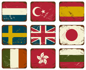 Vintage Metal Flags.