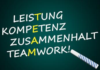 Team: Leistung, Kompetenz, Zusammenhalt, Teamwork