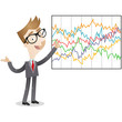Businessman, graphs, statistics, chart, explaining