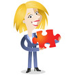 Businesswoman, jigsaw puzzle, explaining, solution, teamwork