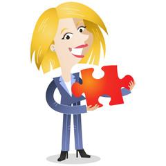 Businesswoman, jigsaw puzzle, explaining, solution, teamwork
