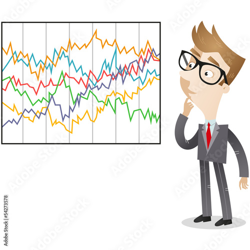 Businessman, graphs, statistics, chart, confused
