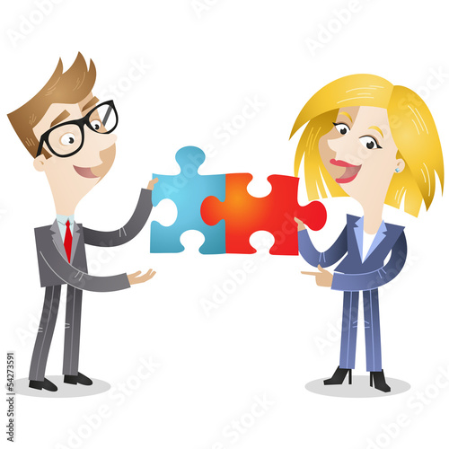 Business people, jigsaw puzzle, solution, teamwork
