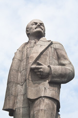 Monument to Lenin on the waterfront of the city of Dubna. Russia