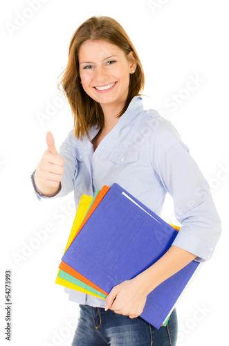 erfolgreiche studentin mit heften