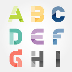 alphabet modern paper cut abstract style Design. Vector illustra
