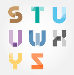 alphabet modern paper cut abstract style Design. Vector illustra