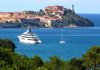 The Portoferaio town on the island of Elba, Italy, Europe.