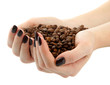 female hands with coffee beans, isolated on white