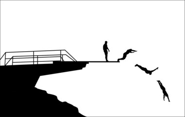 diving silhouettes - vector