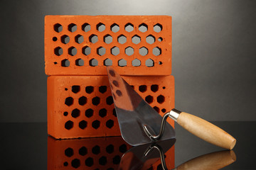 Metal tool for building and bricks isolated on black