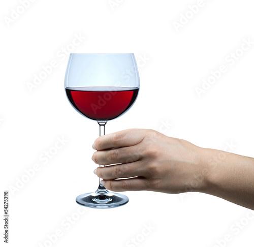 Hand mit Weinglas