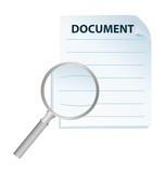 document and magnification glass isolated