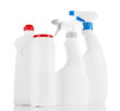 Different kinds of kitchen cleaners, isolated on white