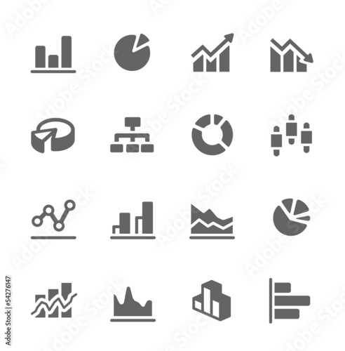 Graph and diagram icon set. - 54276147