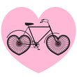 Vector poster with bicycle on pink heart