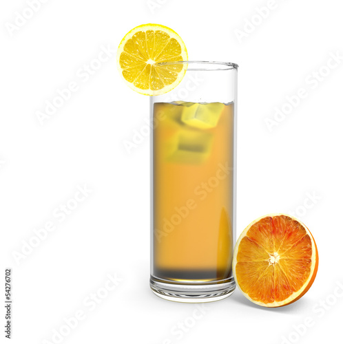 Glass of orange juice and lemon