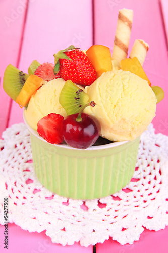 Delicious  ice cream with fruits and berries in bowl