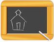Blackboard, wood frame, chalk, schoolhouse sketch Back to School