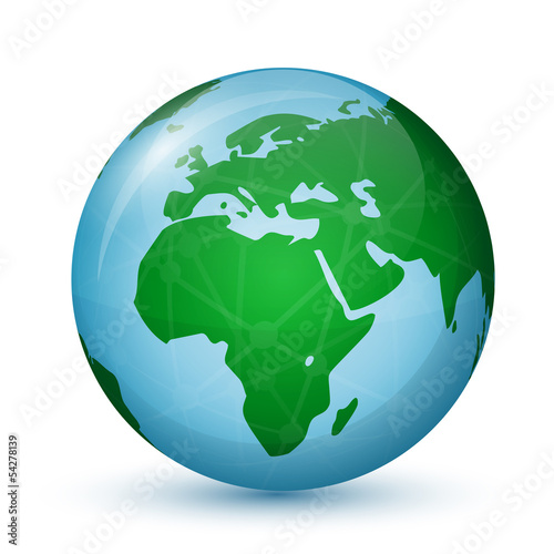World Globe Map - Africa