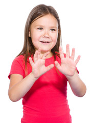 Portrait of a little girl making stop gesture