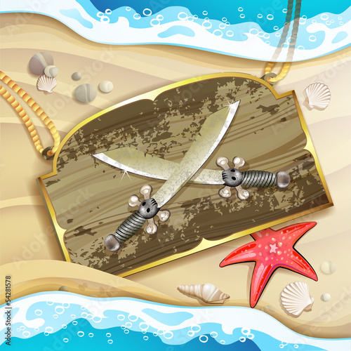 Wood banner  with pirate sword over sand beach