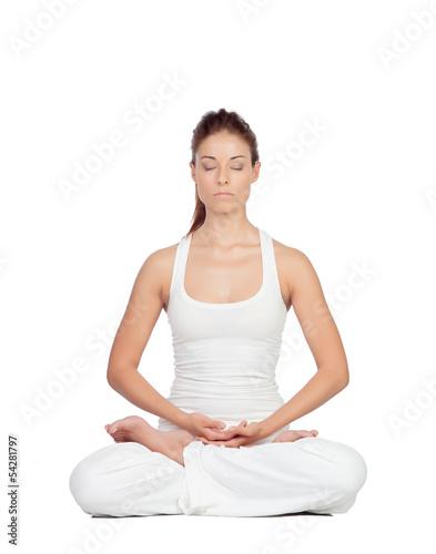 Beautiful woman doing yoga - 54281797