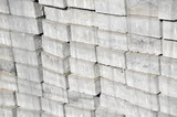 Stack of white silicate brick on construction site