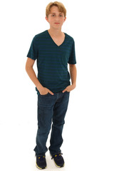Attractive Teen Boy Caucasian Standing with Hands in Pockets
