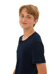 Attractive Caucasian Teen Boy Smiling over White BAckground