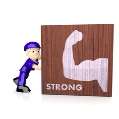 3d graphic of a very strong strong symbol  on delivered box