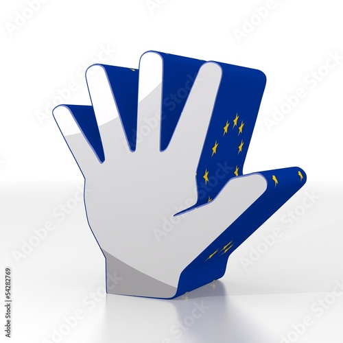 3d render of a european hand sign  with eu flag pattern