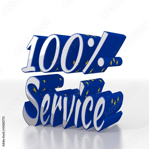 3d render of a best service symbol  with eu flag pattern