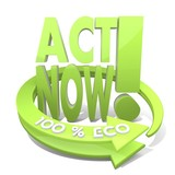 3d graphic of a sustainable act now icon  a 100 percent eco poster