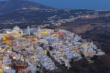 Fira at night.Santorini island.Greece.