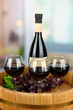Composition of wine bottle, glasses and  grape,
