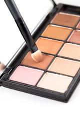 makeup brush and earth tone eyeshadow