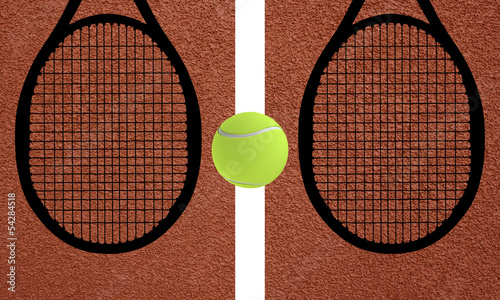 Shadow of tennis rackets