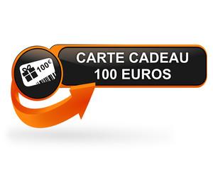 carte cadeau 100 euros sur bouton web design orange