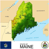 Maine USA counties name location map background
