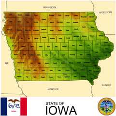 Iowa USA counties name location map background