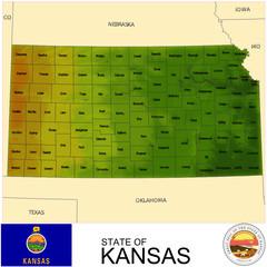 Kansas USA counties name location map background