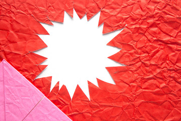 Star blank crumpled paper in red