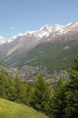 Dom and Taschhorn above Zermatt in Swiss Alps
