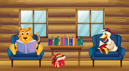 A tiger and a duck reading inside the house