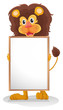 A lion smiling holding an empty board