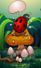 A bug above a mushroom with an empty callout