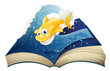 An open storybook with a smiling shark