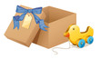 A wooden duck beside a brown box